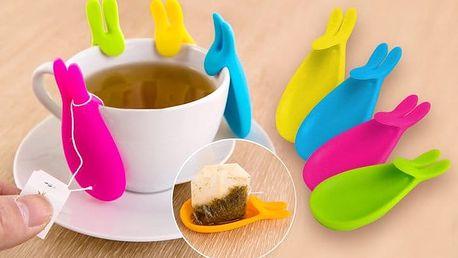 Čajový zajíček – praktický držák na pytlíkové čaje v několika barvách