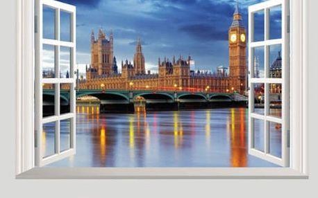 Samolepka na zeď - Okno s výhledem na Londýn