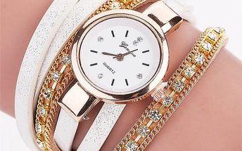 Dámské hodinky s bohatě zdobeným vícevrstvým páskem - 5 barev