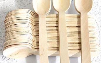Dřevěné lžíce - 100 kusů