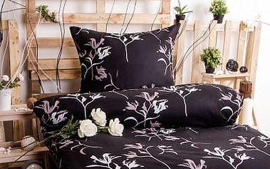 XPOSE ® Bavlněné povlečení LEONA EXCLUSIVE - černá 140x200, 70x90