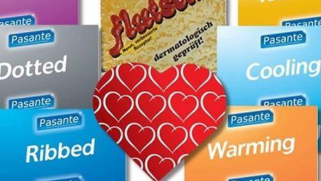 Značkové kondomy Durex a Pasante + zdarma lubrikační gel s afrodiziakální vůní ambry.