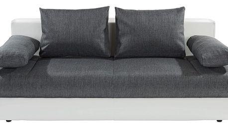 Rozkládací pohovka Clipso, bílá, šedá 212/93/90 cm