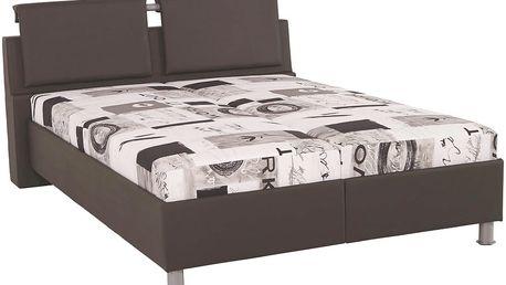 Čalouněná postel Ruby, bílá / černá / šedá 158/93/223 cm