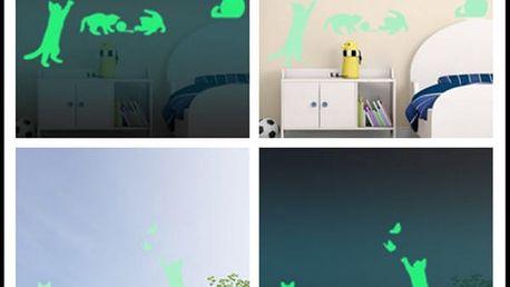 Svítící hravé kočky - samolepka na zeď