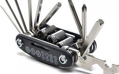 Multifunkční nástroj na opravu kola v černé barvě