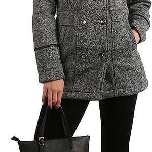 Krátký melírovaný kabátek s límečkem tmavě šedá