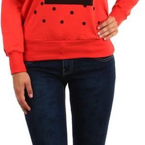 Mikina s kapucí a moderním potiskem červená