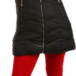 Delší prošívaná bunda s ozdobným zipem černá