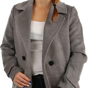 Oversized kabátek na knoflík šedá