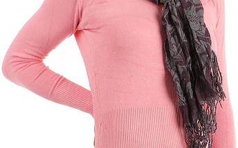Šátek s kostkovaným vzorem fialová