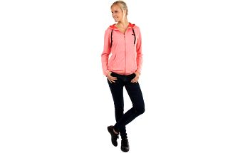 Jednobarevná mikina na zip růžová