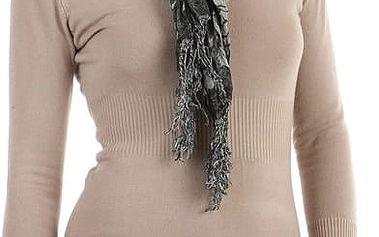 Šátek s kostkovaným vzorem tmavě šedá