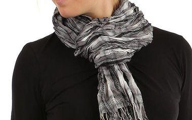 Kostkovaný šátek s třásněmi černá