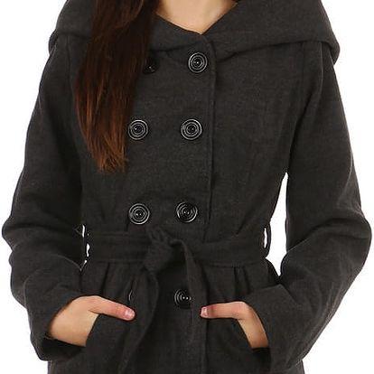 Dámský kabátek s kapucí - i pro plnoštíhlé tmavě šedá