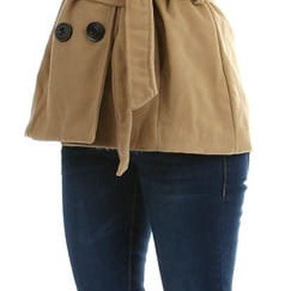 Krásný kabátek s moderní kapucí - i pro plnoštíhlé béžová