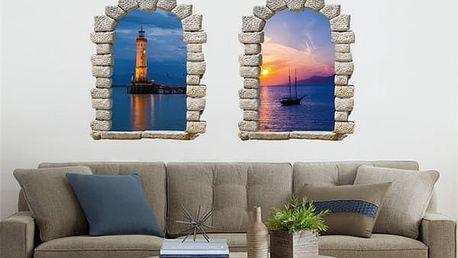 Samolepka na zeď - Okno s výhledem na loď nebo maják