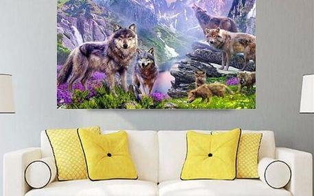 Sada pro výrobu vlastního obrazu - vlci v horách - 40 x 35 cm