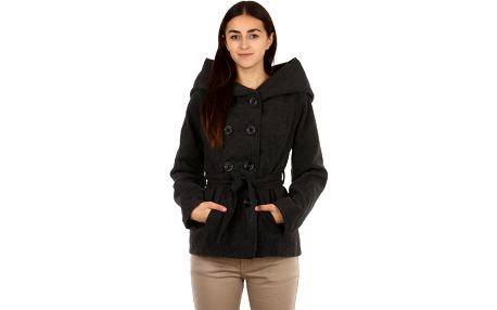 Dámský flaušový kabát s kapucí - i pro plnoštíhlé tmavě šedá