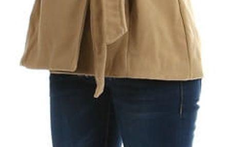 Dámský flaušový kabát s kapucí - i pro plnoštíhlé béžová