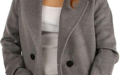 Dámský oversized kabátek na knoflík šedá