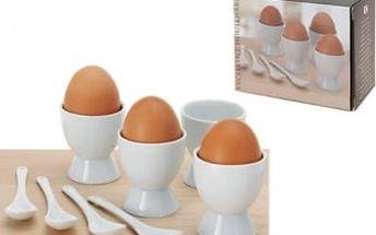 Sada na vejce Porcelánová 8 ks 4 kalíšky na vajíčko 4Lžičky porcelánové ProGarden KO-934894