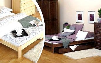 Krásná postel z masivu včetně roštu možno i s kvalitní matrací dle výběru.Postelový komplet z masivní borovice, výběr z pěti rozměrů. Vysoká kvalita a dlouhá životnost. Postel je dodávána s laťkovým roštem a možnost kvalitních matrací na výběr za nejnižš