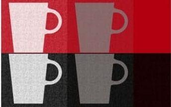 Prostírání PICTURE PP-plastic, dekor hrnek, červená 43,5x28,5cm KELA KL-11751