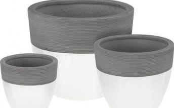 Sada květináčů 3 ks, bílý/šedý EXCELLENT KO-VT4000110
