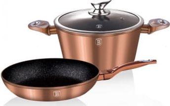 Sada nádobí s mramorovým povrchem 3 ks Copper Metallic Line BERLINGERHAUS BH-1281