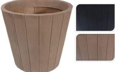 Květináč kruhový 40 cm, vzor dřeva, antracit EXCELLENT KO-Y54190180