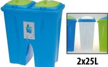 Koš dvojitý plastový 2 x25 l, 50x30x55 cm, modrý ProGarden KO-54630010modr