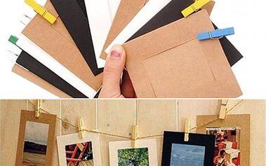 Papírové fotorámečky na provázku - 10 ks