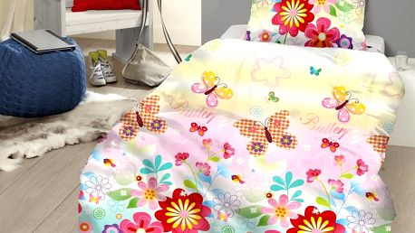 Povlečení GOOD MORNING 100% bavlna Butterfly 135x200,80x80