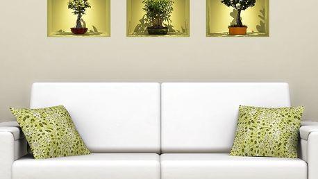 Sada 3 samolepek Ambiance s 3D efektem Fanastick Bonsai Trees On Spot