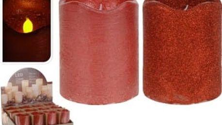 Svíčka led 7x7x9 cm, červená EXCELLENT KO-AAE300120