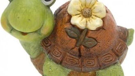 Zahradní dekorace želva s květinou, malá ProGarden KO-795003040zelv