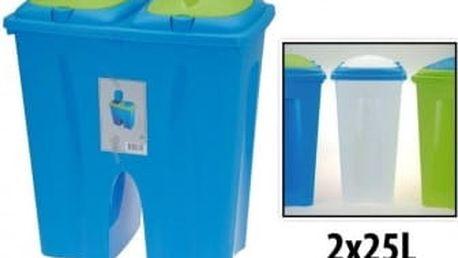 Koš dvojitý plastový 2 x25 l, 50x30x55 cm, zelený ProGarden KO-54630010zele