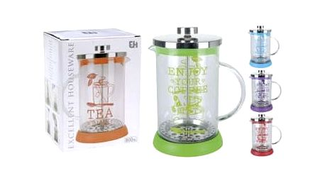 Konvička na čaj a kávu French Press sklo 800 ml KAISERHOFF KO-170412730
