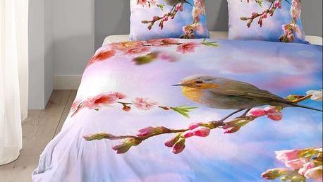 3D povlečení GOOD MORNING 100% bavlna Ptáček na větvi 135x200,80x80