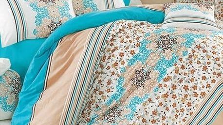 Povlečení 100% bavlna Leila tyrkysová se dvěma povlaky na polštář
