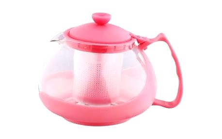 Konvice na čaj sklo plast 750 ml růžová RENBERG RB-3026ruzo
