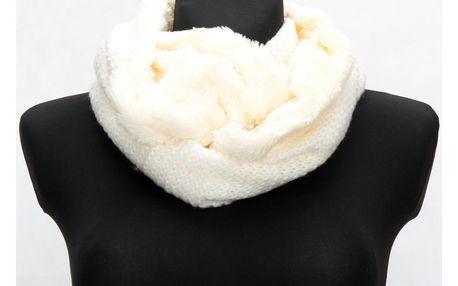 Delfin Zimní dámská pletená šála - tunel oboustranná kožešinová