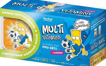 The Simpsons Bart Multivitaminy 50 želé + 45 tablet + budík