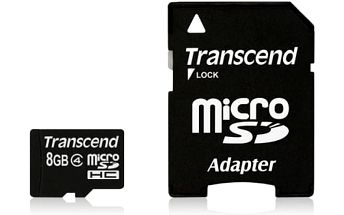 Transcend 8GB Class4 + adapter (TS8GUSDHC4)