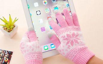 Dámské rukavice s vločkou na dotykový displej