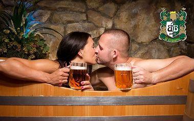 Relaxace v Krušovických pivních lázních U Císaře v Mělníku s konzumací piva pro 2