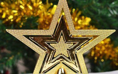 Hvězda na stromeček ve zlaté barvě - dodání do 2 dnů