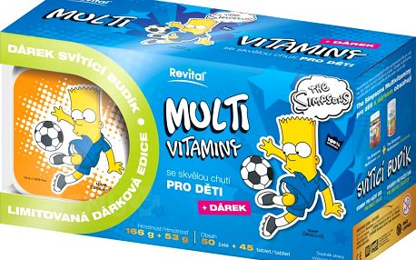 The Simpsons Bart Multivitaminy 50 želé + 45 tablet + budík