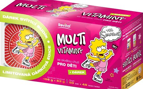 The Simpsons Lisa Multivitaminy 50 želé + 45 tablet + budík
